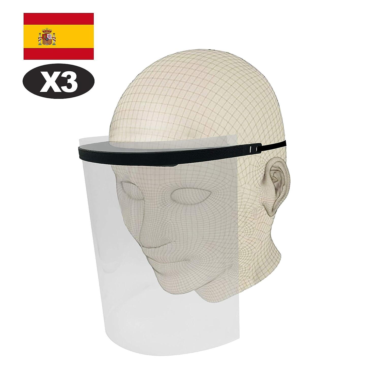 3 Pantallas Facial Protectoras completas, Visera Protectora Transparente Ajustable de rostro Completo con Protección para ojos y cabeza, Cubierta Facial Antisalpicaduras. 3 viseras completas