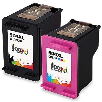 Ilooxi 2X Reemplazo de Cartuchos de Impresora para HP 304xl HP 304 XL Negro Black Color de Colores para HP HP DeskJet 3720 HP DeskJet 3730 HP DeskJet ...