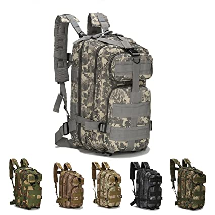 Gouptec 25L Army 3 Day Pack 3P Assaut Tactical Backpack Molle Military Bag Camping Hiking Trekking Camouflage Bagpack Men Women Outdoor Travel ...