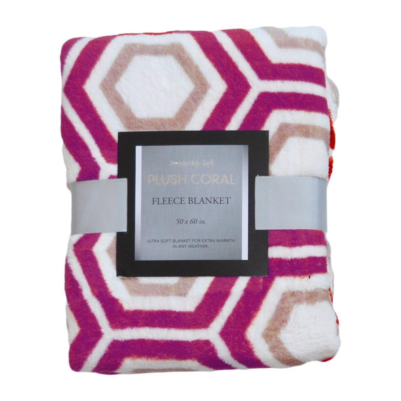 Printed Plush Fleece Throw Blanket : 50 in x 60 in Geometricダークライラック、トープ B015EFJE9S