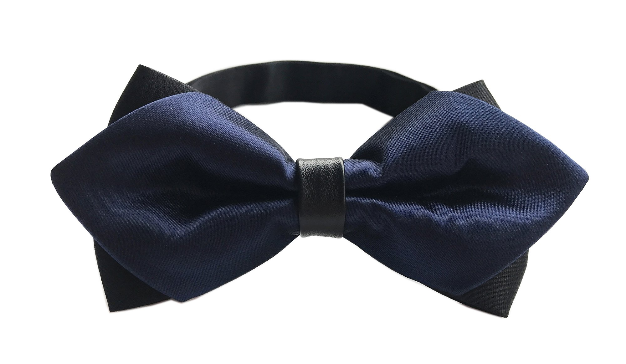 Big Boy's Men's Navy Blue Satin Bow Tie Designer Bowties Best Xmas Gift for Guys
