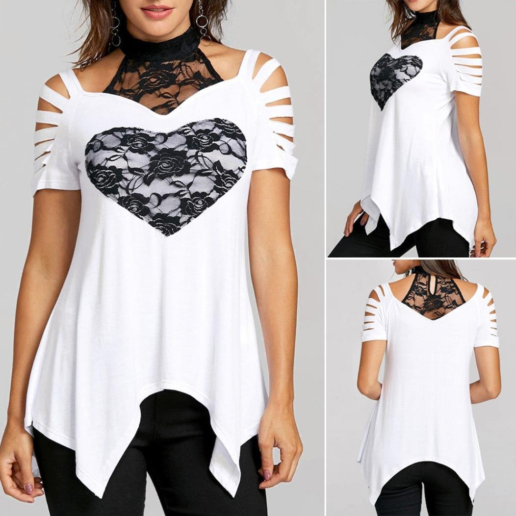 OHQ Camisetas Mujer Verano Blusas Tops Sin Tirantes De Encaje De Gran TamañO Tops con Adornos De Encaje Floral para Mujer De Moda Moda Femenina: Amazon.es: ...