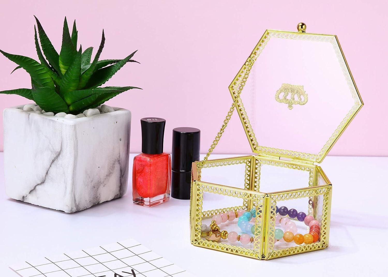 JOVIVI Glas Schmuckschatullen Geometrisches Sukkulente Pflanze Box Schmuckbox+Herz Stein Bergkristall Trommelsteine Tischdeko