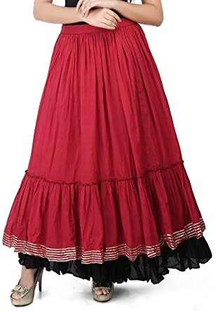 bf81d59be6 Utsav Fashion Plain Cotton Mulmul Long Skirt in Maroon Color: Amazon.in:  Clothing & Accessories
