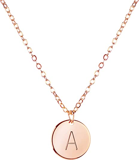 Tiny Disc Necklace letter necklace.Rose Gold,Silver.Personalized bridesmaid gift,Wedding Minimalist Bridal party,birthday gift