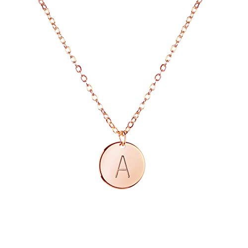 Amazon MignonandMignon Rose Gold Initial Necklace Disc Bridesmaid Jewelry Gift For Her A