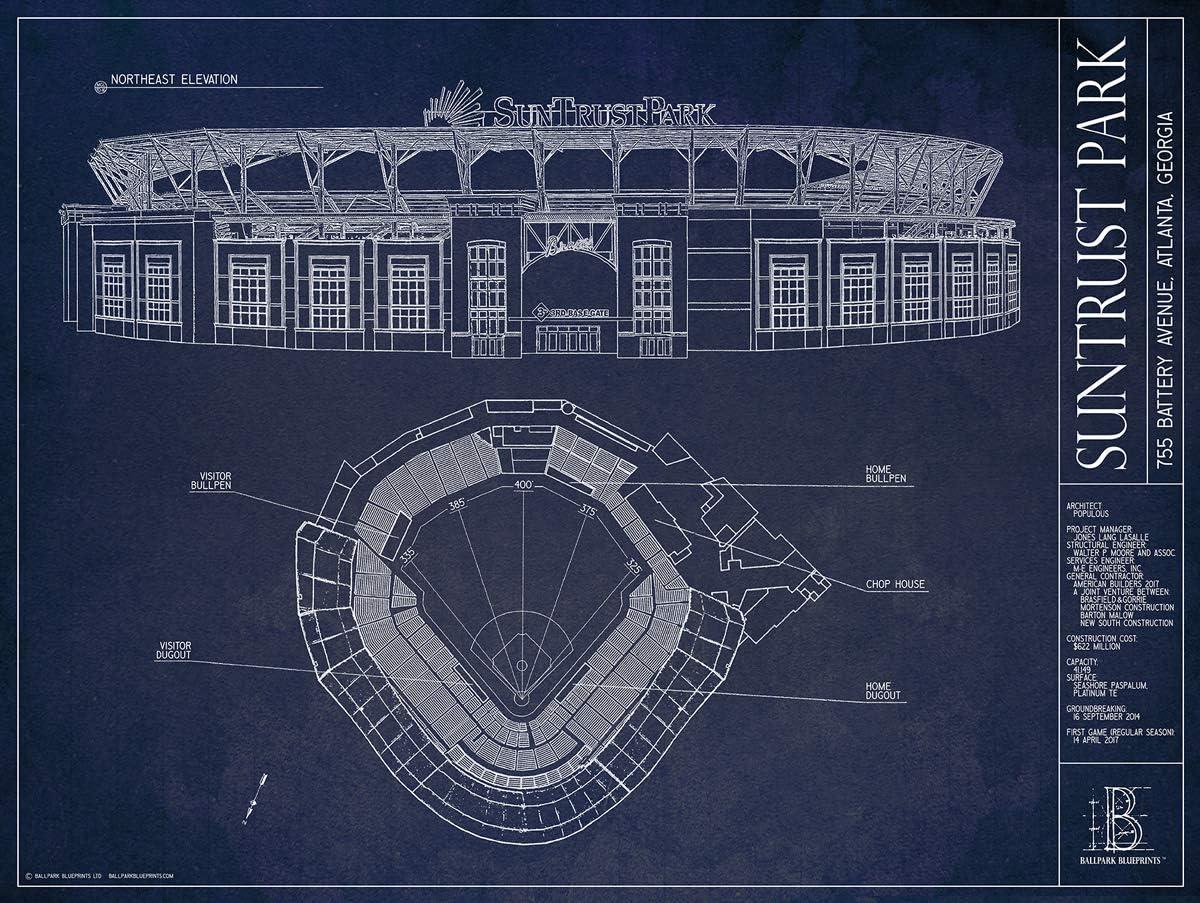 Suntrust Park Blueprint Style Print