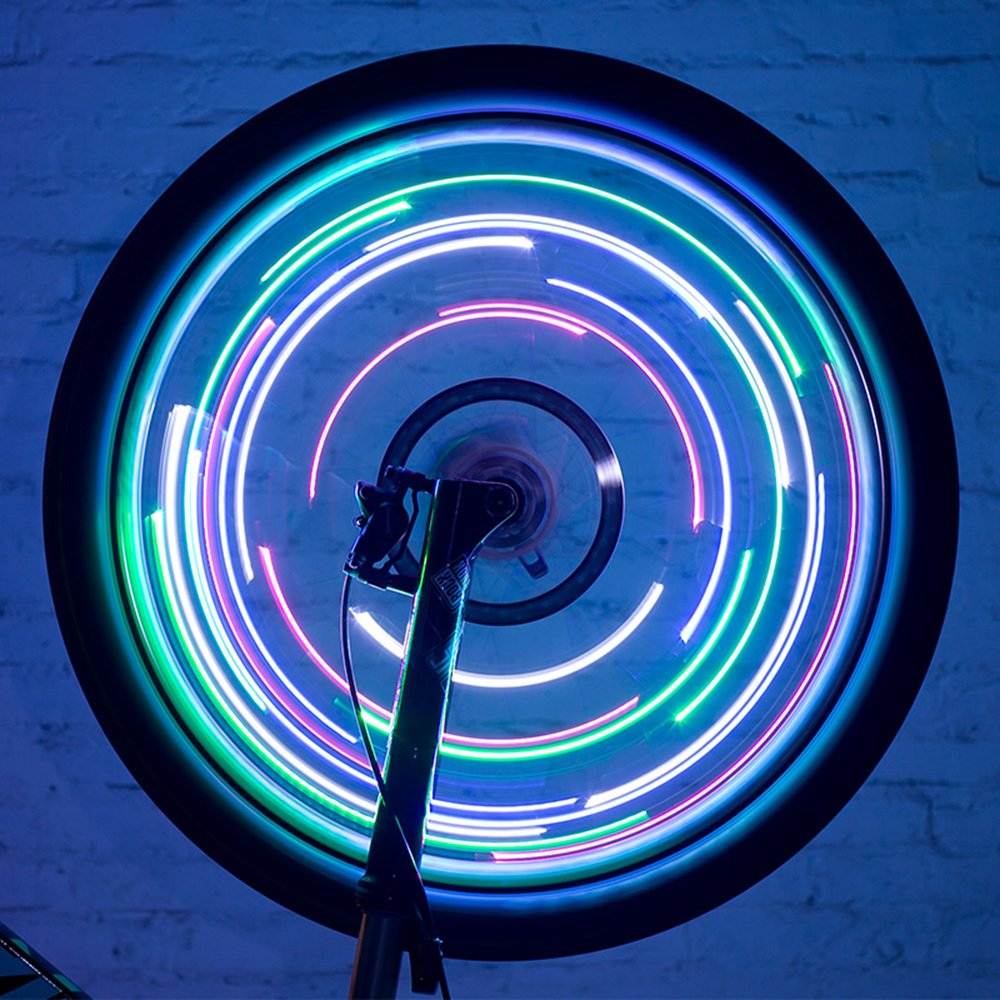 LEADBIKE Bicycle hot wheels 20 Led wire lights wheel decoration lights Mountain bike riding accessories a lamp 7 color 18 simple line shape patterns