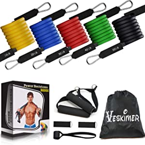 150LB Resistance Bands Set with Handles, Ankle Straps, Door Anchor and Workout Guide - VESKIMER Exercise Bands for Men Women Resistance Training, Home Workouts
