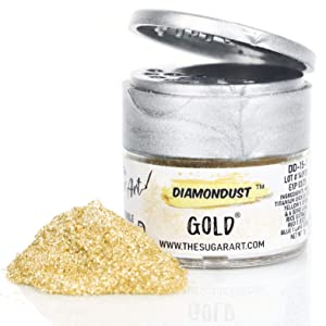 The Sugar Art - DiamonDust - Edible Glitter For Decorating Cakes, Cupcakes, Cake Pops, & More - Sprinkle on Sparkle and Luster to Sweets - Kosher, Food-Grade Coloring - Gold - 3 grams