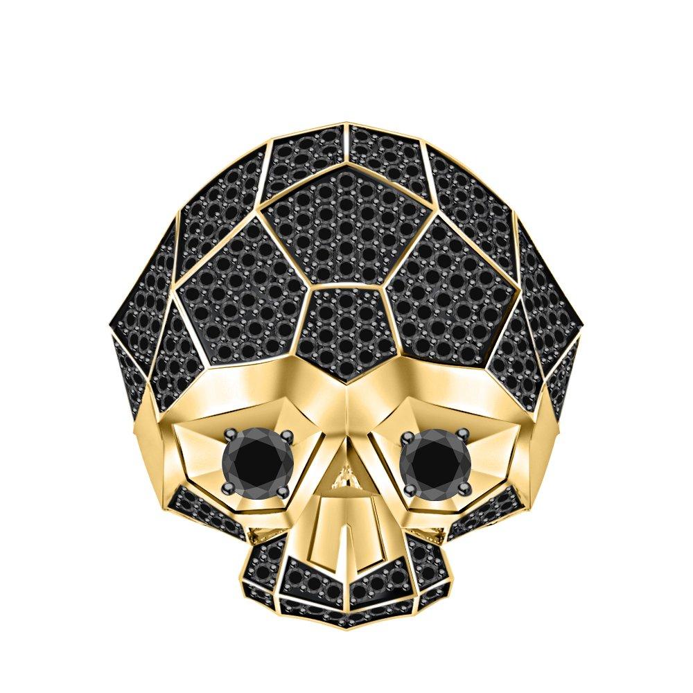 RUDRAFASHION Men's & Women's 14K Yellow Gold Plated 3.80 ctw Black CZ Diamond Half Jaw Skull Ring