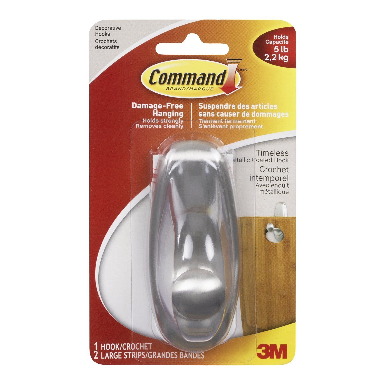 Command 17063BN-C Timeless Hook, Large, Brushed Nickel, 1 Hook 2 Large Strips product image