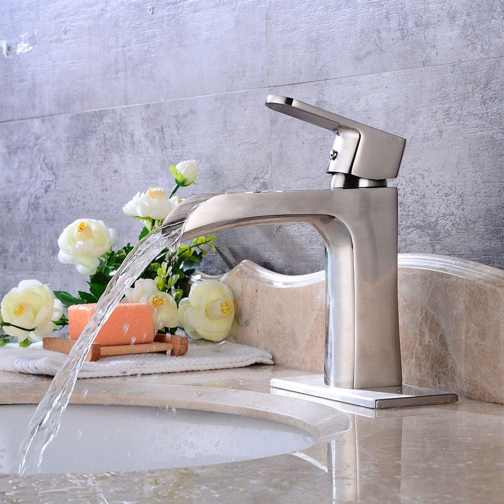 AQiMM Waschtischarmatur Wasserhahn Waschbecken Gebürstet Heißem Und Kaltem Wasser  Badezimmer Mischbatterie