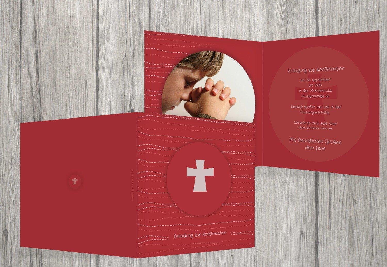 Kartenparadies Einladungskarte Konfirmation Wellen Kreuz, hochwertige Einladung zur Konfirmationsfeier inklusive Umschläge   10 Karten - (Format  145x145 mm) Farbe  WeinRot B01MSDCLJT | Sale Online Shop  | Clearance Sale  | Klein und fein