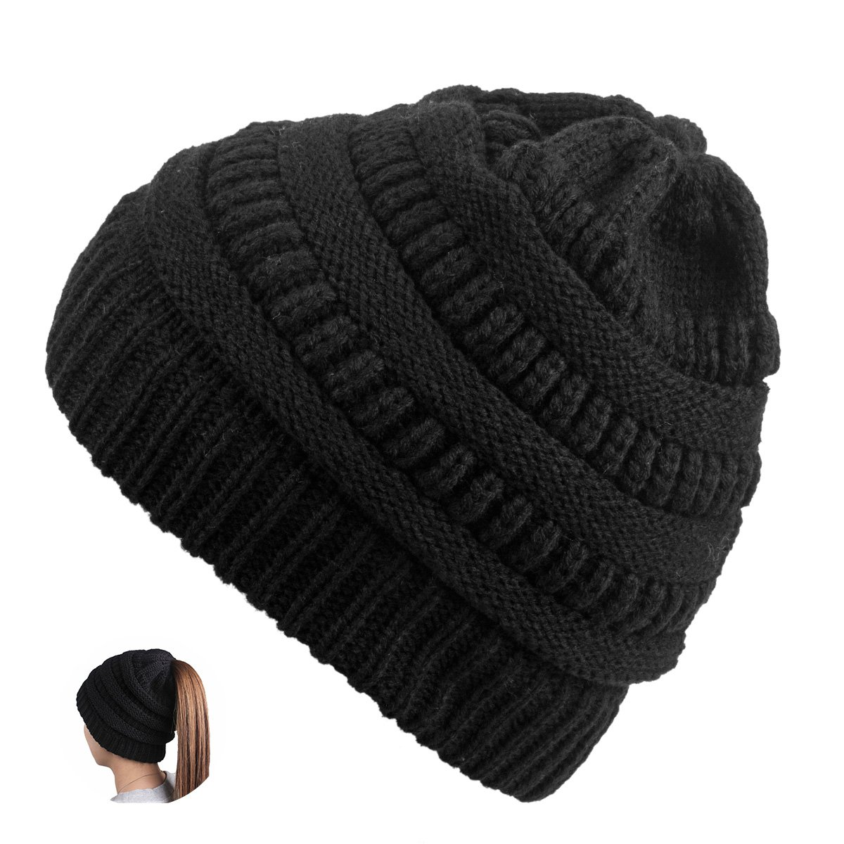 Black TONLION Women Girl Stretch Knit Hat Messy Bun Ponytail Beanie Holey Warm Hats Winter