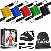 VESKIMER 150LB Resistance Bands Set with Handles, Ankle Straps, Door Anchor and Workout Guide Exercise Bands for Men Women Resistance Training, Home Workouts