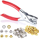 1/4 Inch Grommet Eyelet Plier Set, Eyelet Hole Punch Pliers Kit with 300 Metal Eyelets, Grommet Tool Kit for Leather Clothes