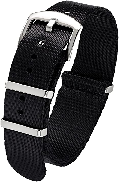 PBCODE 22mm Hombre Banda de Reloj de Nylon Correa de Reloj de Cinturón de Nylon Banda Nato Negro: Amazon.es: Relojes