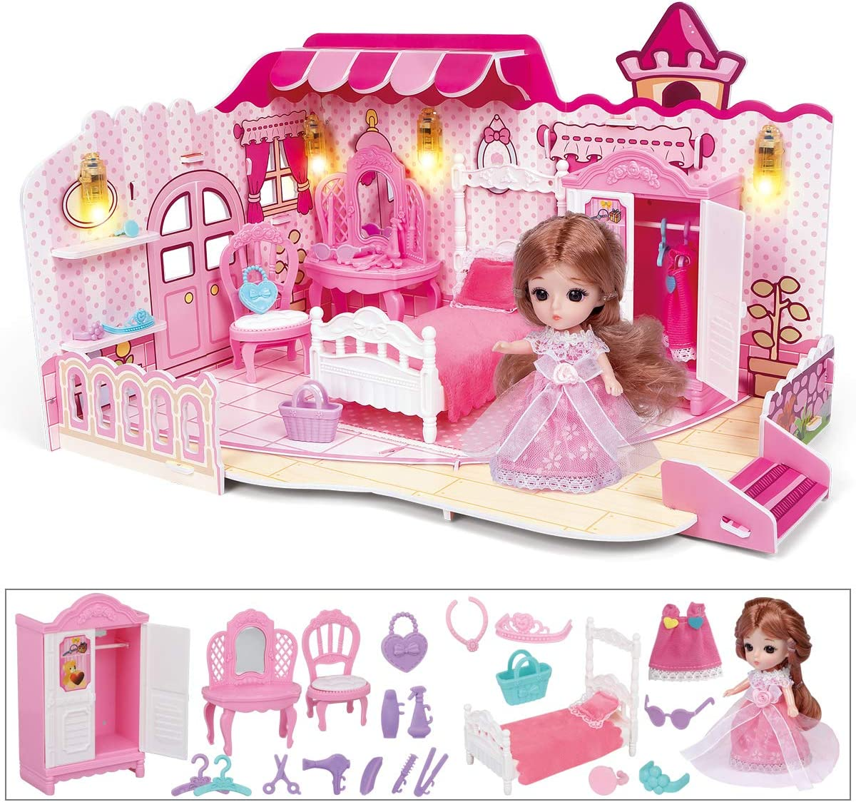 LADUO Mini Dollhouse, Bedroom with Furniture, Lighting, Mini Doll, Doll House Toys for 3-8 Years Girls (Bedroom-Pink)