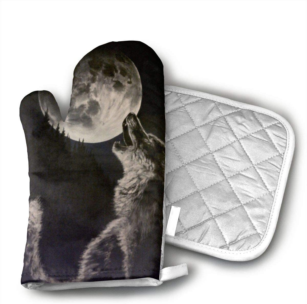 Black and White Wolf Howling Oven Mitts and Pot Holders Kitchen Mitten Cooking Gloves,Cooking, Baking, BBQ.