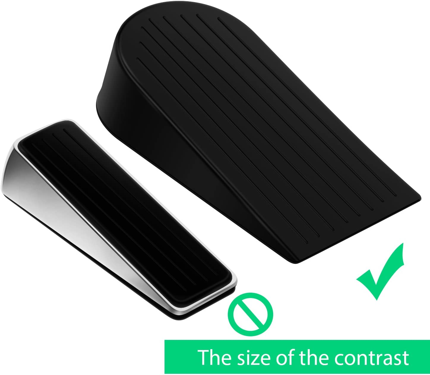 Heavy Duty Rubber Door Stop Wedge,Multi Surface Design EIOU Big Door Stopper Non-Scratching Door Stop 2 Pack