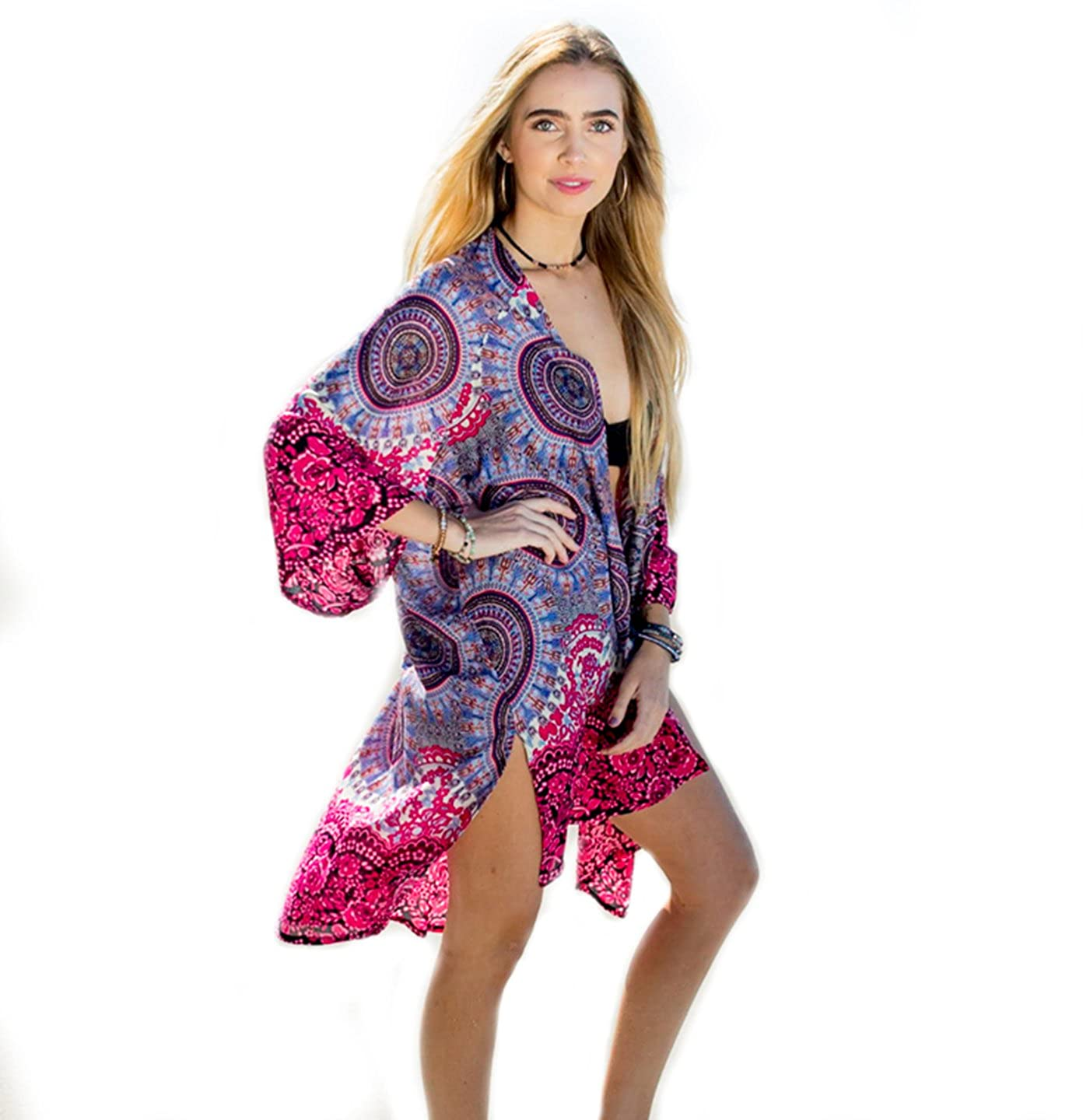 Boho Gypsy Pink and Purple Mandala Print Lotus and Luna Womens Cozumel Beach Cover up  P