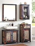 Badezimmer Punjab 5 Akazie Metall 4-teilig Unterschrank Hängeschrank Kommode Spiegel Used Look Vintage
