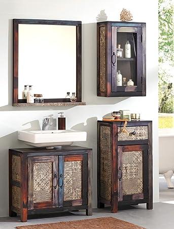 Badezimmer Punjab 5 Akazie Metall 4 Teilig Unterschrank Hängeschrank  Kommode Spiegel Used Look Vintage