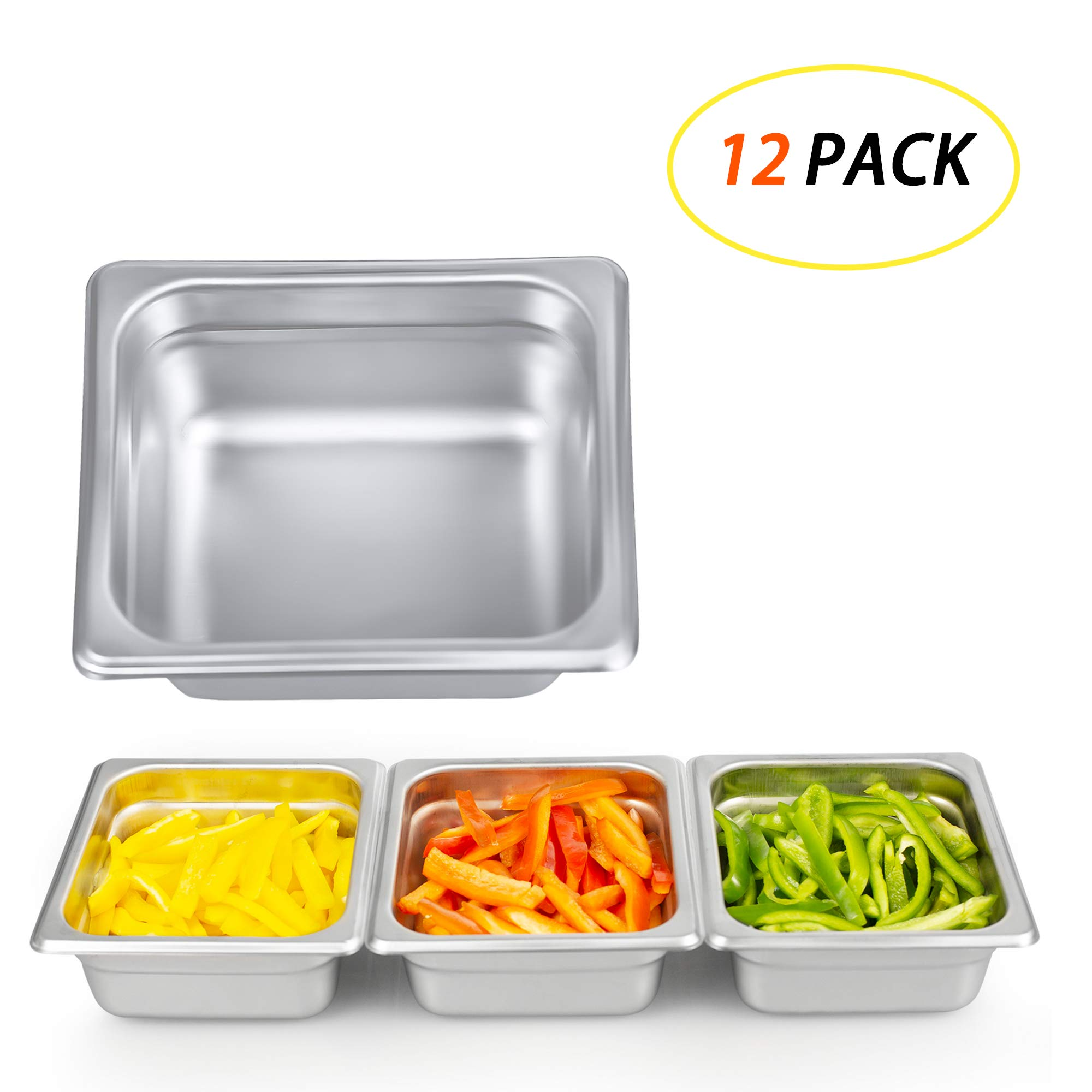 7 Inch Square Stainless Steel Cake Pan, Kitma Bakeware - 1/6 Size Hotel Steam Solid Pans (12 PACK)