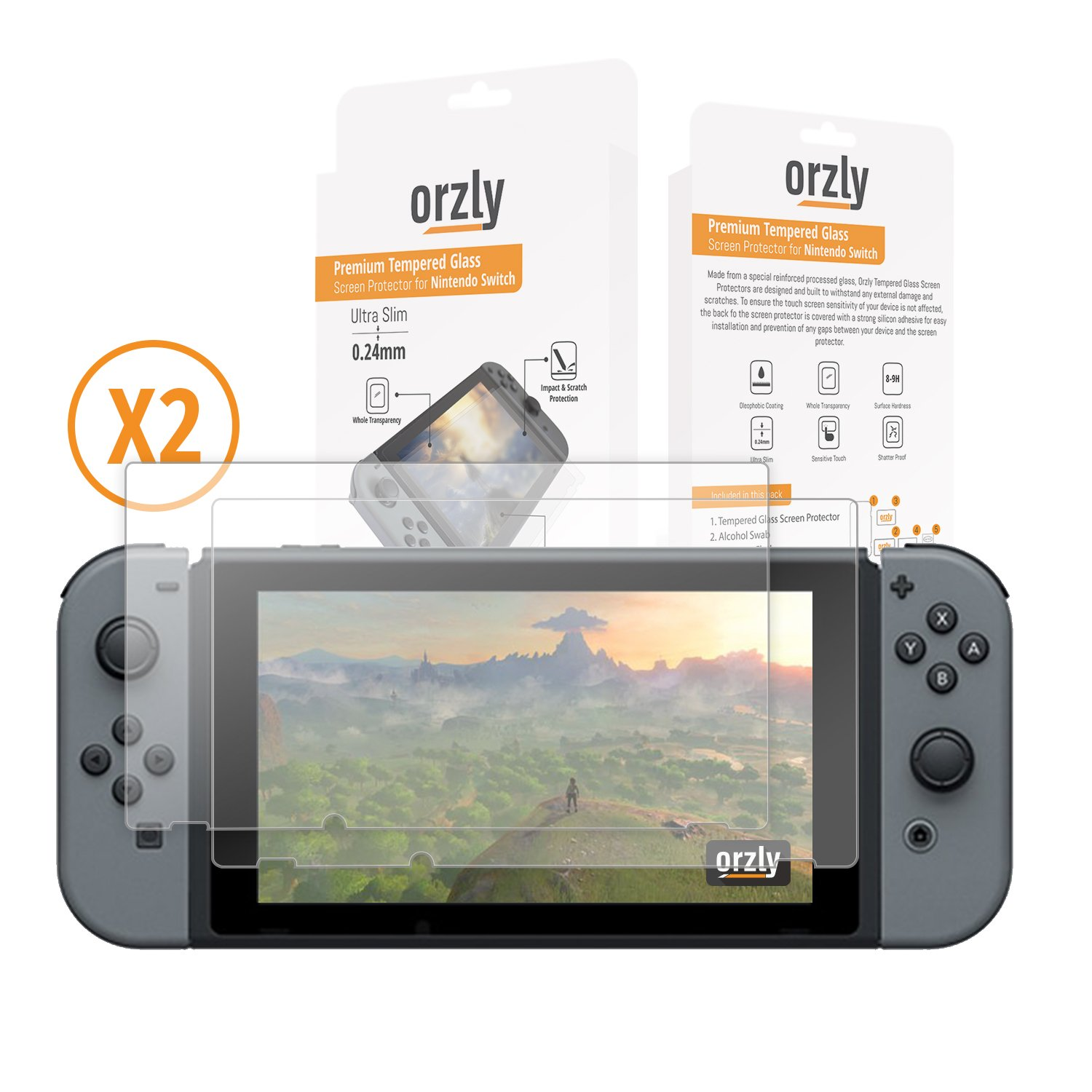 Amazon: Orzly Glass Screen Protectorspatible With Nintendo Switch   Premium Tempered Glass Screen Protector Twin Pack [2x Screen Guards   024mm]