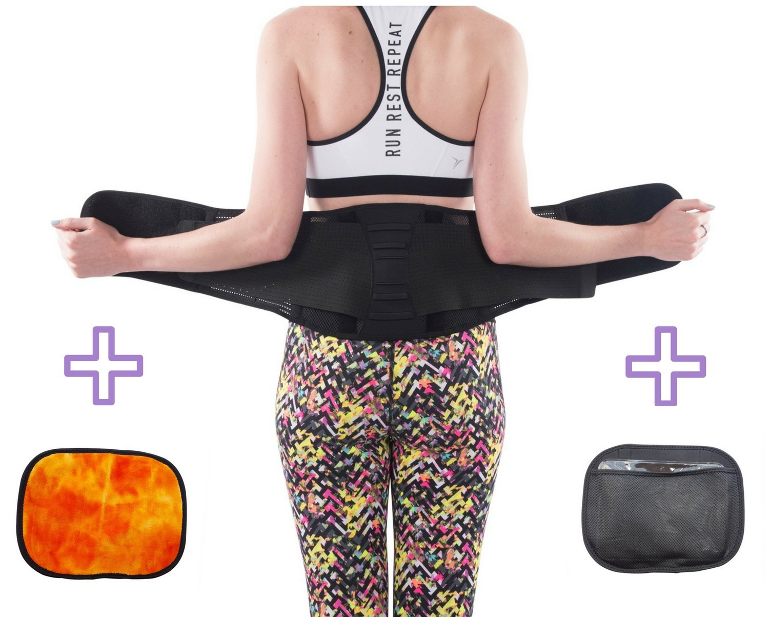 Lower Back Brace by FOMI Care | Removable Lumbar Pad + Hot Cold Pack Pouch for Sciatica, Herniated or Bulging Disc Pain Relief | Lumbar Waist Support Belt for Work, Home, or Gym | Fits Up to 37'' Waist