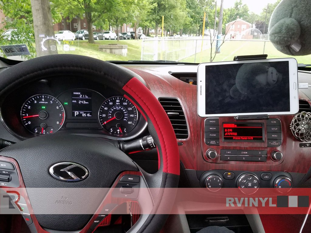 - Wood Grain Rdash Dash Kit Decal Trim for Kia Forte 2014-2017 Sedan Mahogany