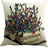Hot Sale ! 45X45 CM Pillow Case, Ninasill Exclusive New Fashion Butterfly Painting Linen Cushion Cover Throw Waist Pillow Case Sofa Home Decor (F)