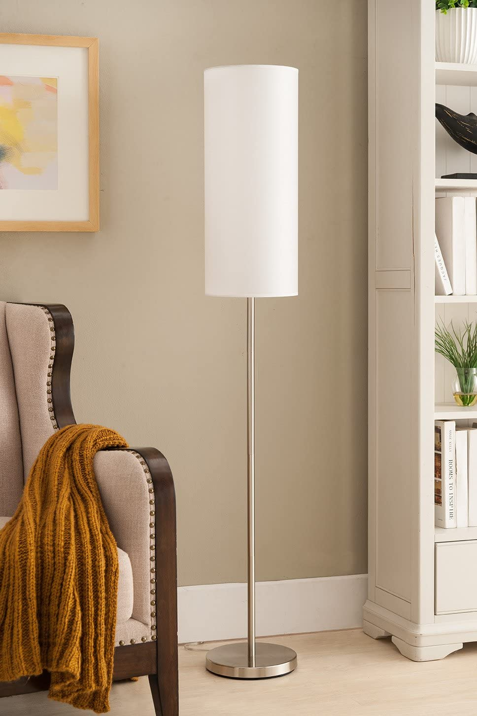 Kings Brand 59 H Brushed Nickel With White Fabric Shade Floor Lamp