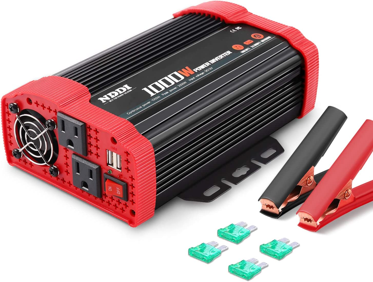 NDDI 1000W Car Power Inverter 12V DC to 110V AC Converter with Dual AC Outlets and 3.1A Quick Charging USB Port Car Adapter