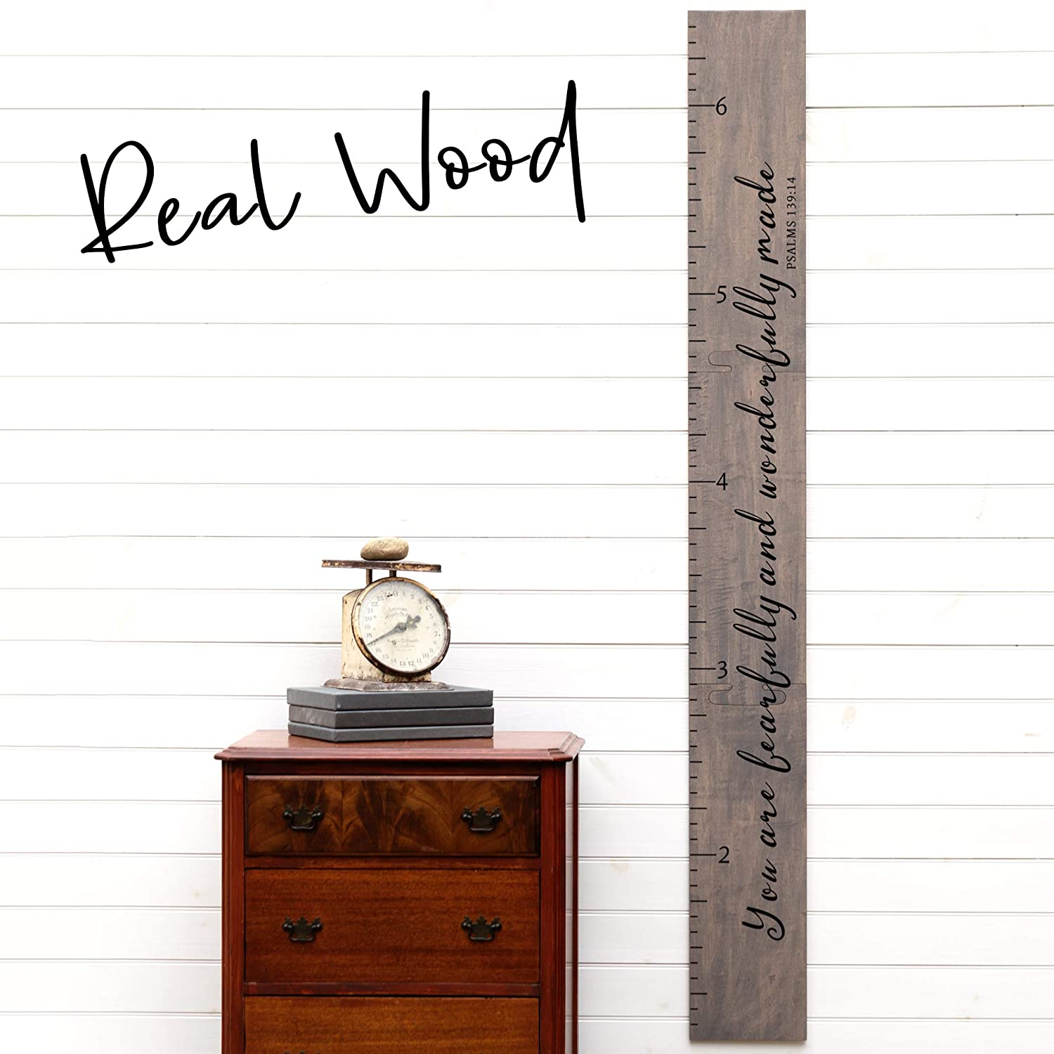 Kids Wood Growth Chart for Babies Boys /& Girls Giant Ruler Wooden Height Chart Baby Shower Gift Fearfully and Wonderfully Made on Gray