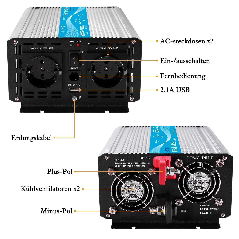 CARRYBATT Inversor de Corriente de Onda sinusoidal Pura 1500W//3000W Convertidor DC 24V a AC 220V 230V con Mando a Distancia /& Salidas de AC duales y Puerto USB