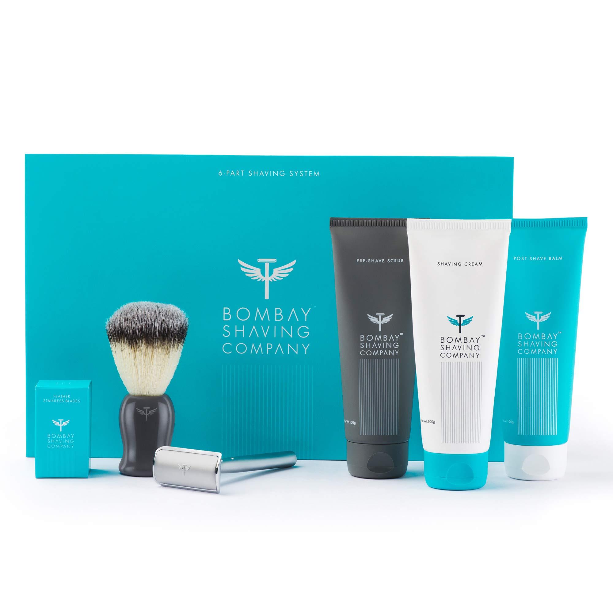 Bombay Shaving Company Complete Shaving Kit (Safety Razor, Blades, Imitation Badger Brush, Scrub, Cream, Balm)   Gift for Men