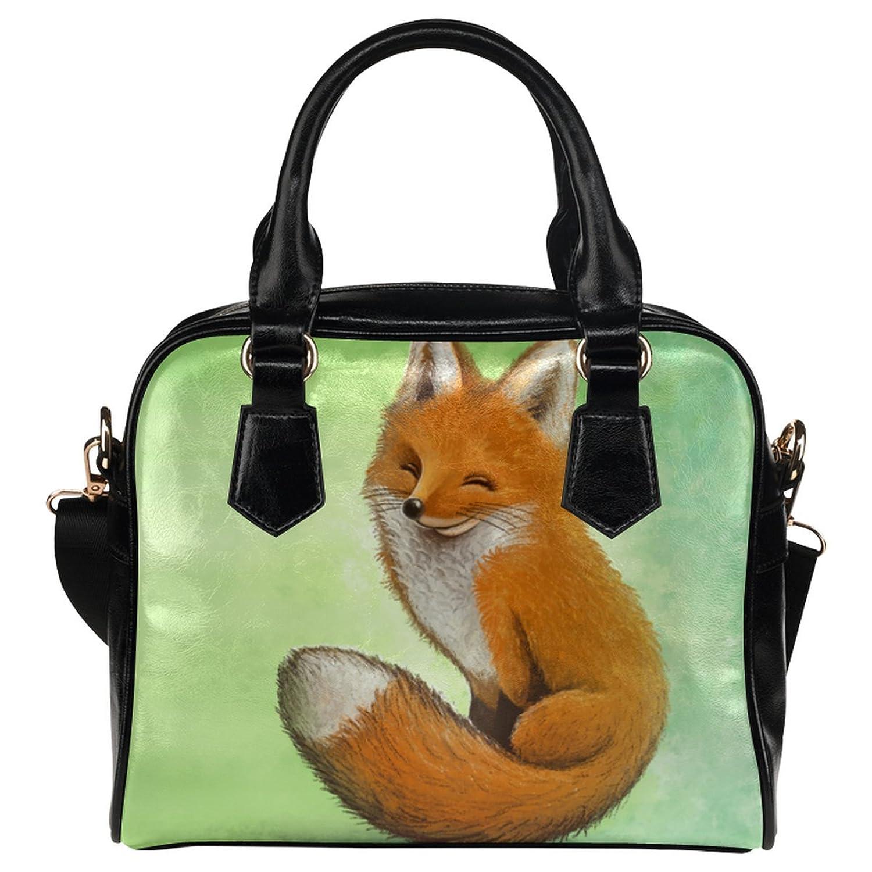 CASECOCO Funny Painting Fox Women's PU Leather Purse Handbag Shoulder Bag