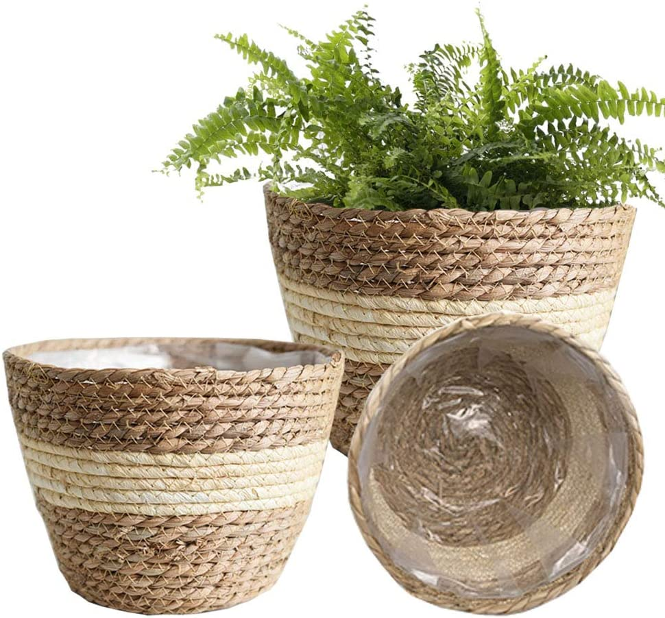BSLVWG Seagrass Planter Basket - Set of 3 Hand Woven Basket Indoor Outdoor Storage Flower Pot Cover Containers with Waterproof Plastic Liner for Modern Home Decor Storage Grocery Basket (Beige)