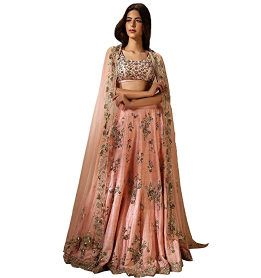 cf20ef4213 Payal Creation Women's Mulberry Silk Heavy Embroidery Orange Lehenga Choli:  Amazon.in: Clothing & Accessories