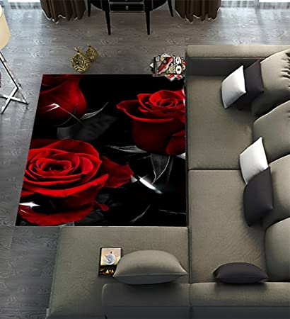 Unique Carpet Floor Rugs Mat For Home Living Dining Room Playroom  Decoration,Fire Red Rose