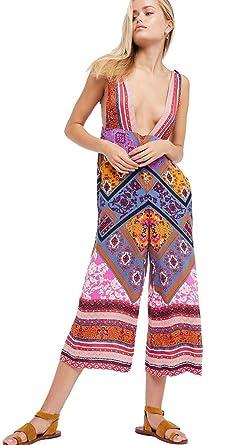 1ce44261dfa1 Free People Maritzah One Piece Deep V Colorful Bohemian Festival Wide Leg  Jumper