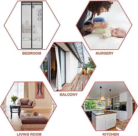 LinStyle Mosquitera Magnética para Puertas, cortina de malla con 32 Piezas Imanes, Adsorción magnética Plegable, Fácil de Instalar - Negro (120 x 220 cm): Amazon.es: Bricolaje y herramientas