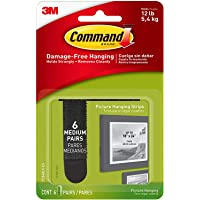 Command Picture Hanging Strips, 6-Pairs, 12-Strips (17204BLK-ES), Black - 1
