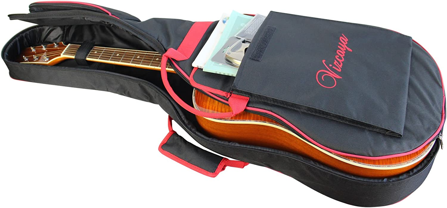 -Black with Red Edge Adult Guitar Strap,Picks,Strap Lock Vizcaya 41 Inch Waterproof Dual Adjustable Shoulder Strap Acoustic Guitar Gig Bag 15mm Padding Backpack with Accessories