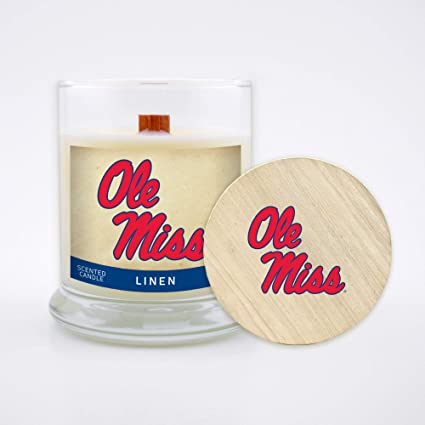 Wood Wick and Lid Worthy Promo NCAA Oklahoma Sooners 8 oz Linen Scented Soy Wax Candle