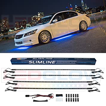 Led Lights For Cars >> Ledglow 4pc Blue Slimline Led Underbody Underglow Accent Neon Lighting Kit For Cars Solid Color Illumination Water Resistant Low Profile Tubes
