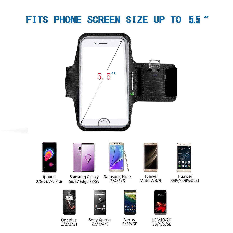 EVERSHOW Brazalete Resistente al Agua, tamaño adecuado para iPhone 6 / 6S / 7, Galaxy S6 / S7, y móviles menos que 4,7 pulgadas , con llavero y tapa, ...