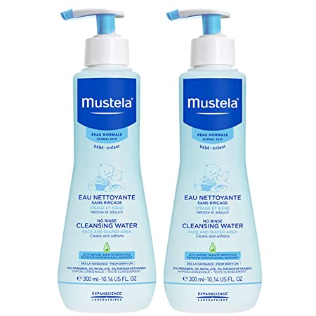 Mustela No Rinse Cleansing Water, Micellar Water Cleanser for Baby s Face, Body and Diaper, with Natural Avocado Perseose and Aloe Vera, Various Sizes